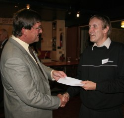 Lynchmere Cricket Club receiving cheque